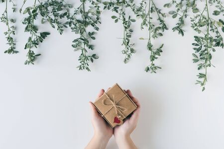 Woman packing gift in a box of kraft paper on white wood table. Green leaves, branches. concept. Flat lay, top view.  Banco de Imagens