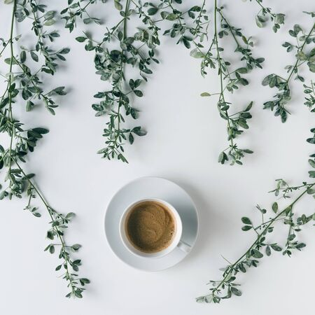 cup of coffee in branches with green leaves on a white table. Cofee art. Flat lay, top view.