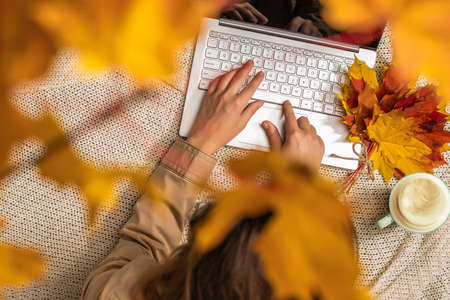 Autumn. Woman freelancer on the plaid with laptop, cup of coffee under branch of golden maple leaf on the green grass in the park. Concept. Top view