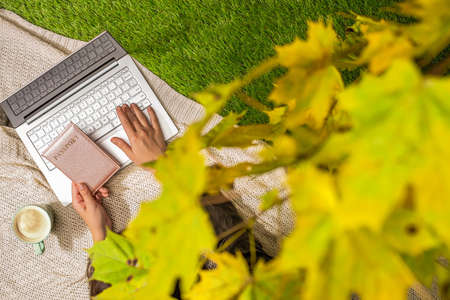 Autumn. Woman on the plaid with laptop and passport, cup of coffee under tree, branch of maple leaves on the green grass in the park. Travel, booking concept. Top view