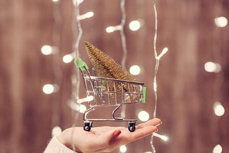 Woman holding out gold christmas tree in a small shopping cart through the glowing garland. Concept