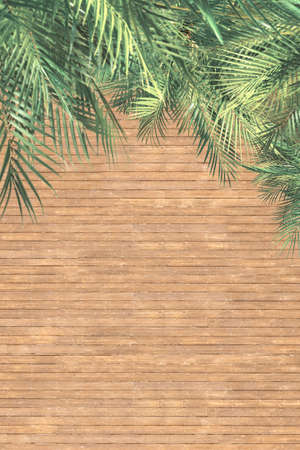Aerial drone view on wooden floor, terrace and palm trees. Background. View from above. Verticar ratio, size