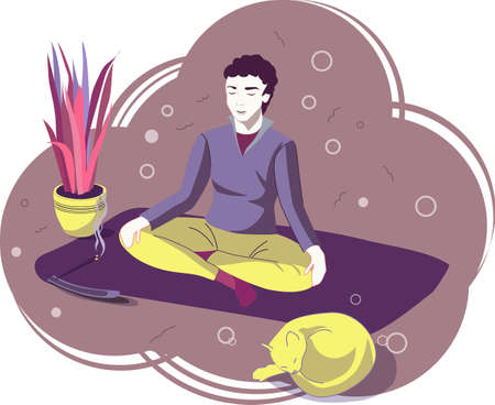 Man sitting crossing legs, doing yoga and practicing meditation with his cat. Finding a quiet place. Vector cartoon illustration. Violet background
