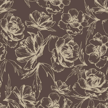 Botanical vector seamless pattern with hand drawn globe flowersin brown color. All elements are isolatet for easier editing. Texture for ceramic tile, wallpapers, wrapping gifts, textile print. Vector