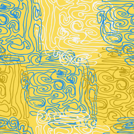 Seamless vector pattern with abstract colored scrawls. Swirled brush strokes. Freehand scribbles, background. Brushstrokes, smears, lines, squiggle pattern.