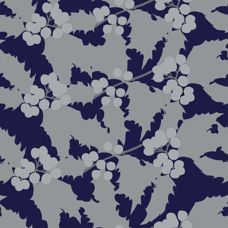 Seamless vector pattern with gray holly branches on a deep blue background. Background for textiles, fabrics, covers, wallpapers, print, wrapping gift