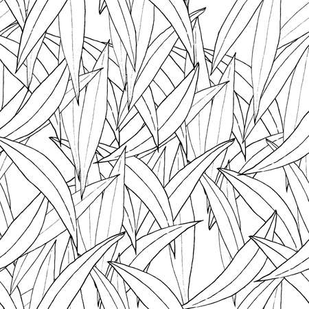 Vector seamless pattern, ink hand-drawn leaves on white background.