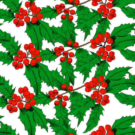 Seamless vector pattern with colored holly branches. Background for textiles, fabrics, covers, wallpapers, print, wrapping gift