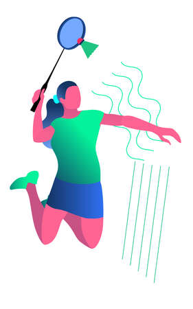 Vector illustration in minimalist flat style of woman playing badminton. in blue and green colors