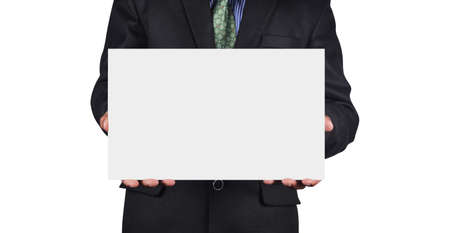 employe: Businessman holding card in black suit isolated on white background
