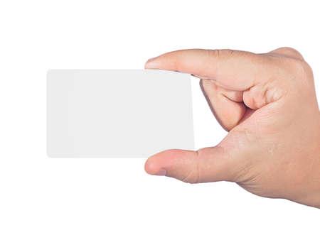 professionally: Hand holding card isolated on white background professionally