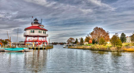 The Drum point Lighthouse on the Chesapeake Bay in Maryland Stok Fotoğraf