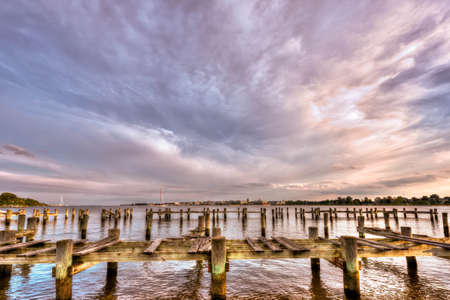 cadet blue: United States Naval Academy along the Severn river in Annapolis Maryland Stock Photo