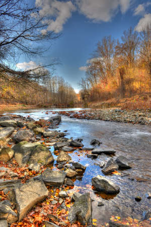 Mountain stream in the Appalachian mountains of Maryland during Autumn Stock Photo