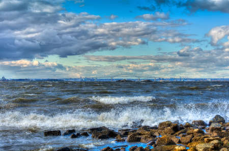 blustery: Chesapeake Bay in Maryland on a windy day with Baltimore in the backgound