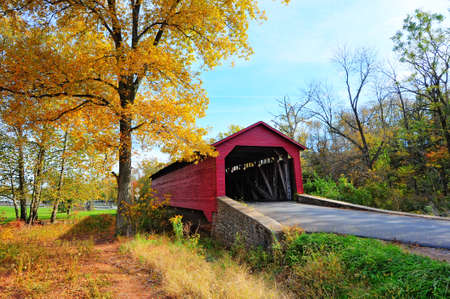 Covered bridge in Utica Mills, Maryland in Autumn Stok Fotoğraf