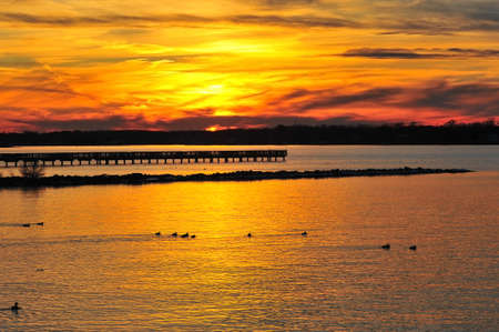 Golden sunset on the Chesapeake Bay Maryland Stok Fotoğraf - 40834776