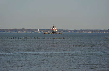 Thomas Point Shoal Lighthouse Chesapeake Bay Maryland Stok Fotoğraf