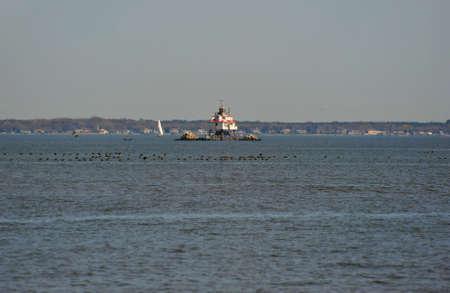 thomas: Thomas Point Shoal Lighthouse Chesapeake Bay Maryland Stock Photo
