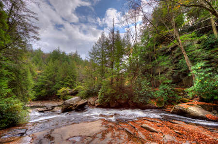 appalachian mountains: A wild river in Swallow Falls in the Appalachian mountains of Maryland during Autumn Stock Photo