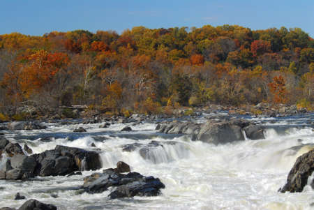 maryland: Great Falls Maryland in Autumn Stock Photo