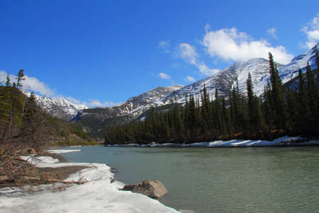 Landscape of Kenai river melting in Spring in Alaska