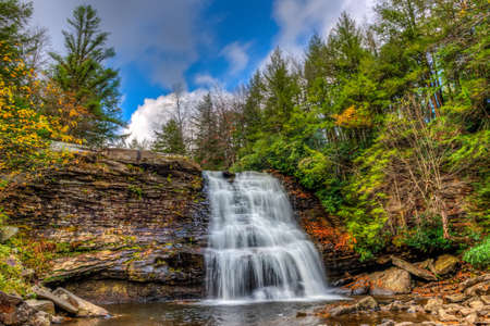 appalachian: Muddy Falls Waterfall in the Appalachian Mountains during Autumn