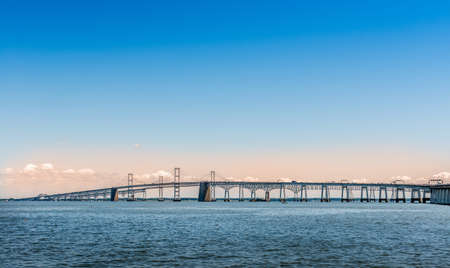 Chesapeake Bay Bridge in Maryland near sunset