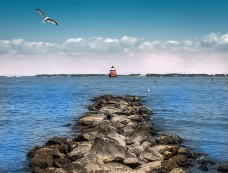 the bay: Lighthouse on the Chesapeake Bay in Maryland Stock Photo