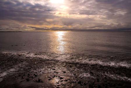 inlet: Sunset on the Cook Inlet in Kenai Alaska