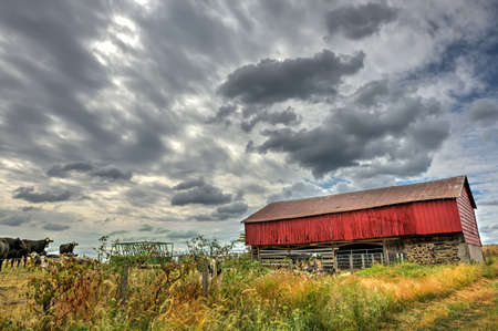 Rustic red barn on a Maryland dairy farm in Autumn