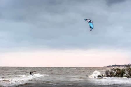 blustery: Kite surfer on the Chesapeake Bay in Maryland Stock Photo