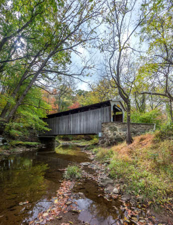 Rudolf  Arthur covered bridge in Pennsylvania during Autumn Stok Fotoğraf