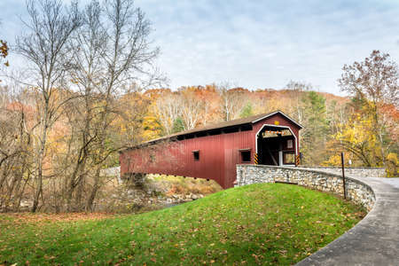 Colemanville covered bridge in Pennsylvania during Autumn