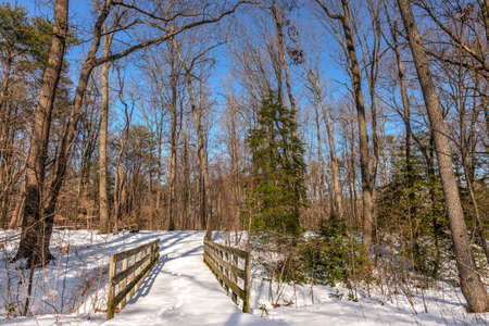 Old rustic walking bridge over a frozen stream in the Maryland woods covered in snow during Winter