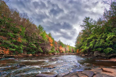 Vivid Autumn colors abound along the rapids of a wild river in the Appalachian mountains of Maryland Stok Fotoğraf