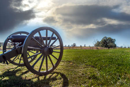 Canon from the Civil War on the Gettysburg Battlefield at sunset