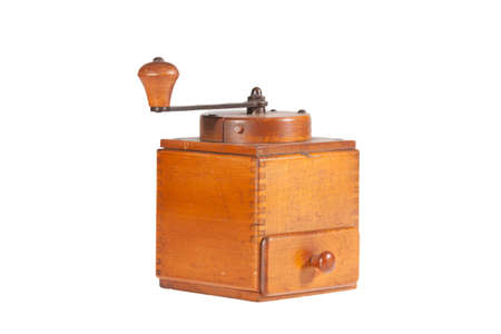 vintage coffee mill isolated on white backgroung