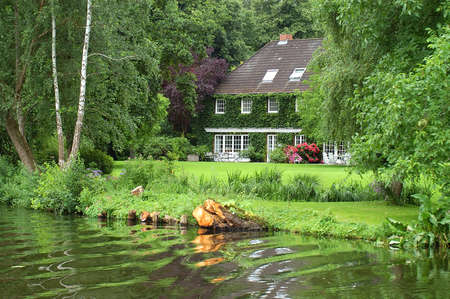 country house on the trave near l�beck Stock Photo