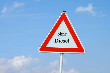Warning sign without diesel