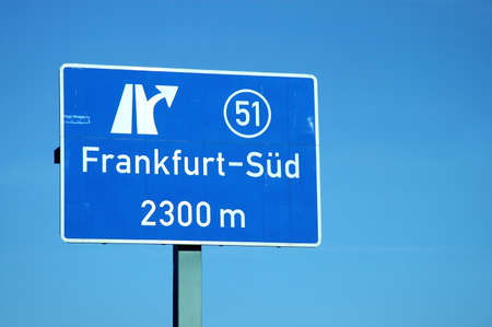 Sign motorway exit frankfurt south Stock Photo