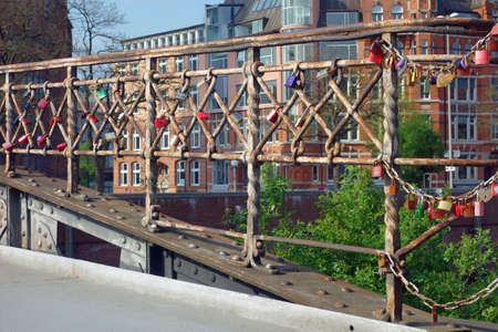 Love locks on a bridge in the warehouse district of Hamburg