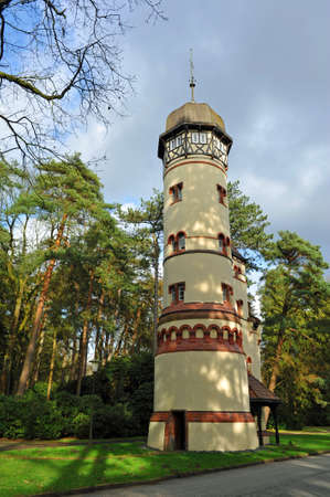 Water tower at the Ohlsdorf cemetery in Hamburg Imagens