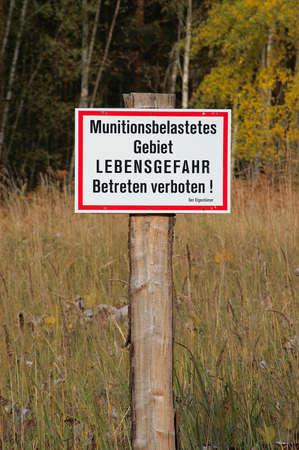 Ammunition area sign Imagens
