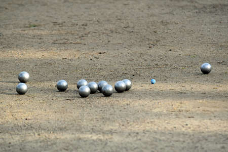A group of metal boules