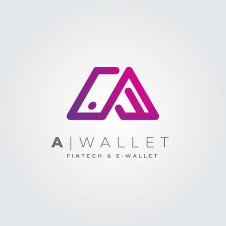 Modern, technology and clean logo, a combination of the letter A and the shape of a wallet. For modern business, corporate, applications, digital wallet, digital money, digital payment.