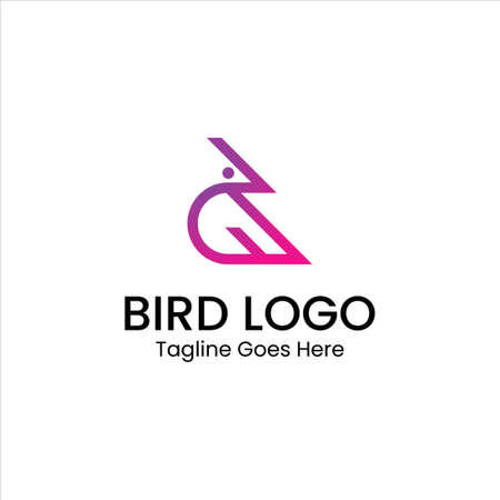 The logo that forms a bird with pink and purple gradient colors. Has a modern, clean, and professional character. Suitable for any type of company or business. Vettoriali