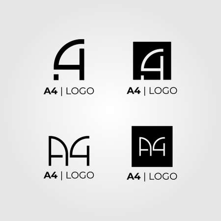 Four logo variations that are formed from the letters A and number four. Has a modern, clean and professional character. Suitable for modern company, software, internet, apps, fashion, studios, etc.
