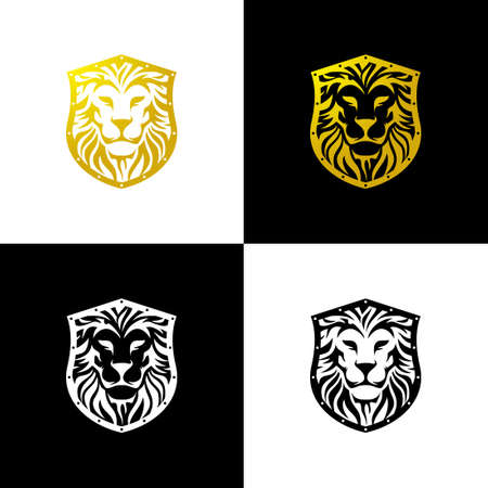 Lion Shield Logo. The shape of a lion's face combined with the shape of a shield. luxurious, classic, timeless. for luxury goods logos or royal family logos