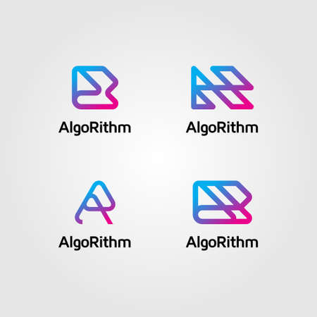 Four logo variations are formed from the letters A and R with blue and pink gradients. Has a modern, clean and professional character. Suitable for modern company, software, internet, websites, etc.